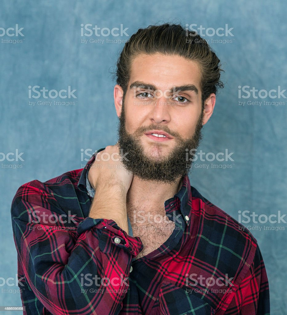 Relaxed Lumberjack Shirt Young Man With Beard stock photo