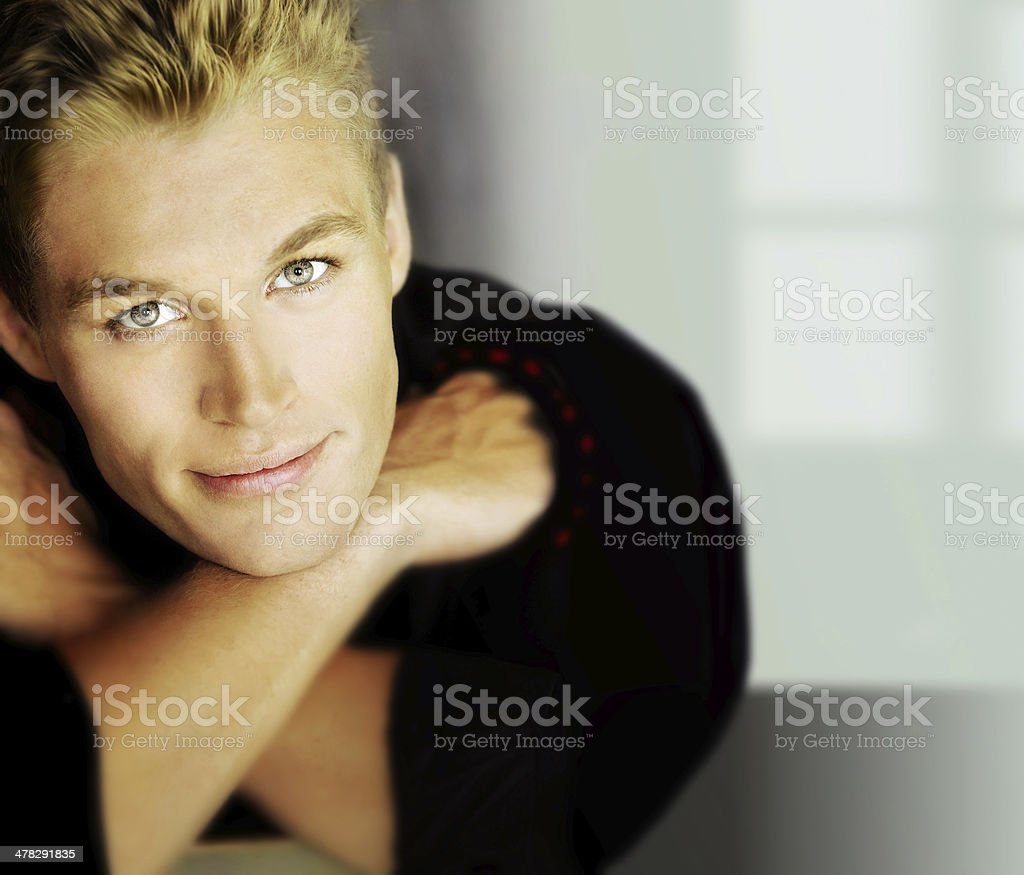 Relaxed male model stock photo