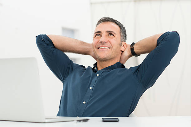Relaxed Man Daydreaming stock photo