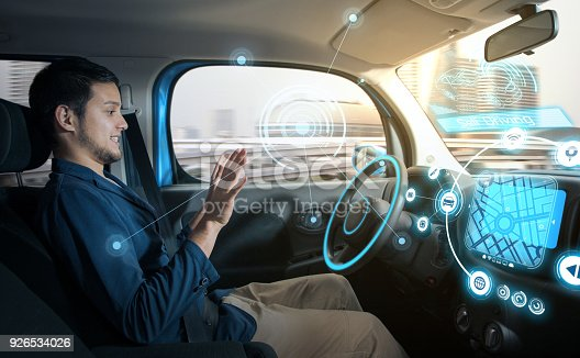 829191978 istock photo relaxed man in autonomous car. self driving vehicle. autopilot. automotive technology. 926534026