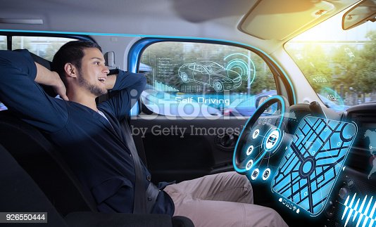 istock relaxed man in autonomous car. self driving vehicle. autopilot. automotive technology. 926550444