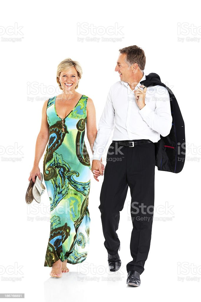 Relaxed mature couple after a party stock photo
