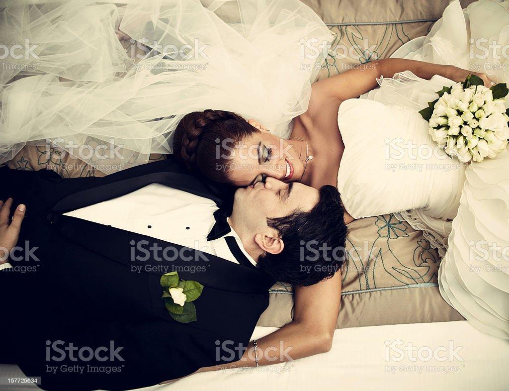 Relaxed newlyweds royalty-free stock photo