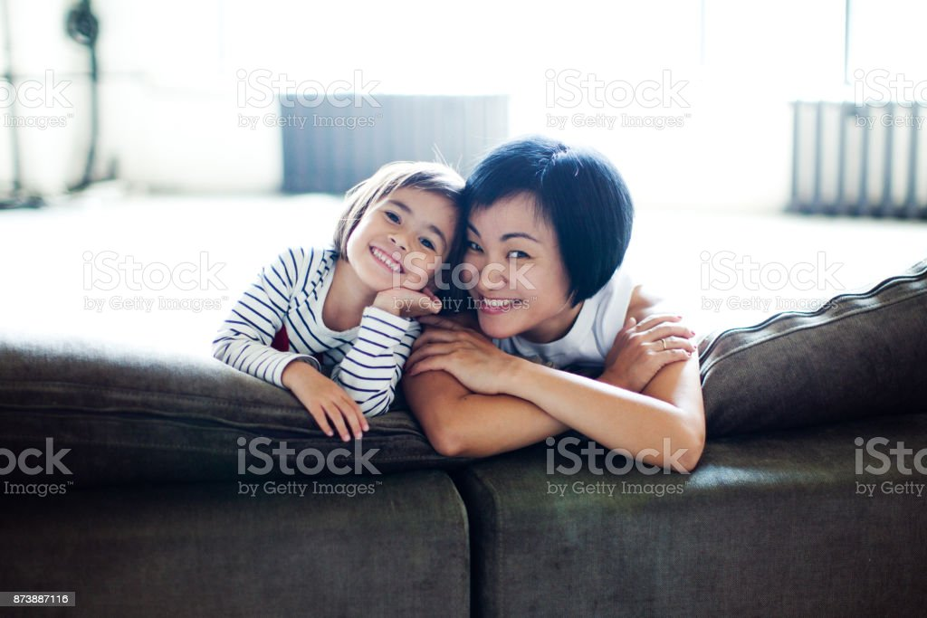 Relaxed Parenting stock photo