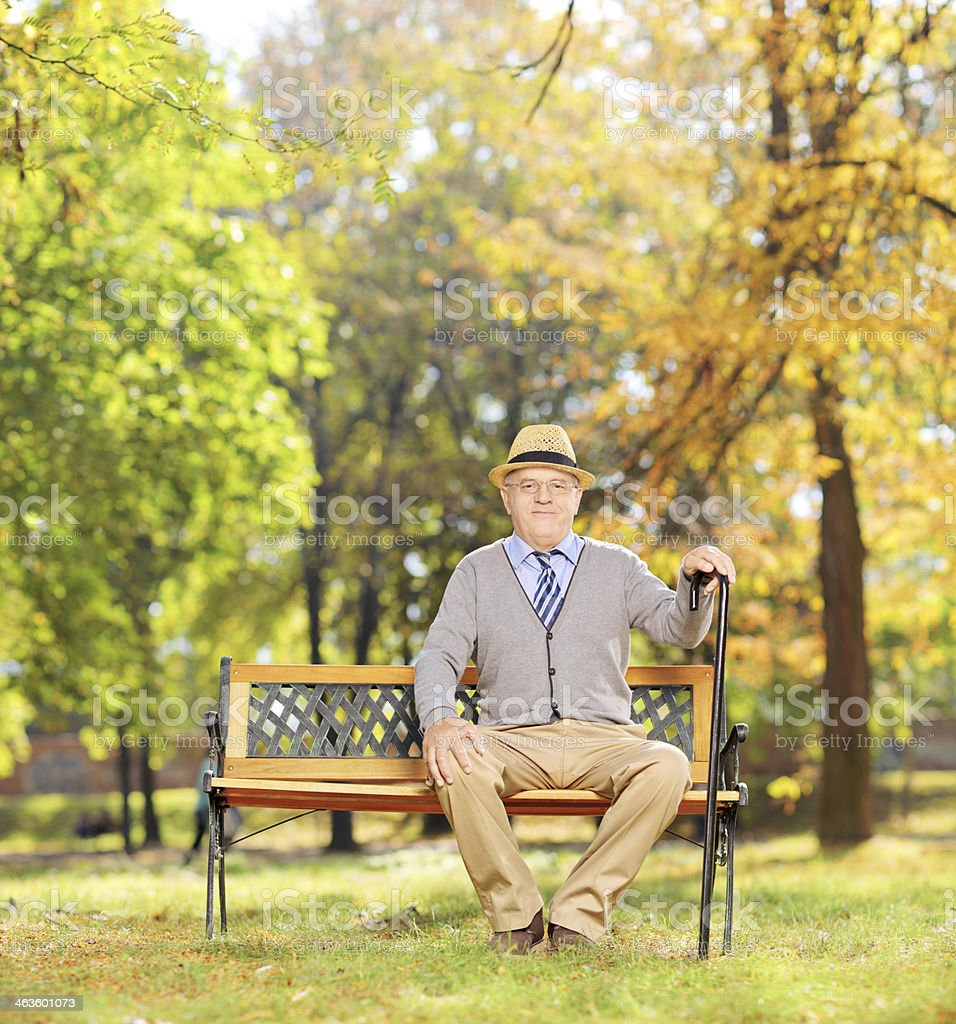 Rilassata Uomo Anziano Seduto Su Una Panchina In Legno In Un Parco