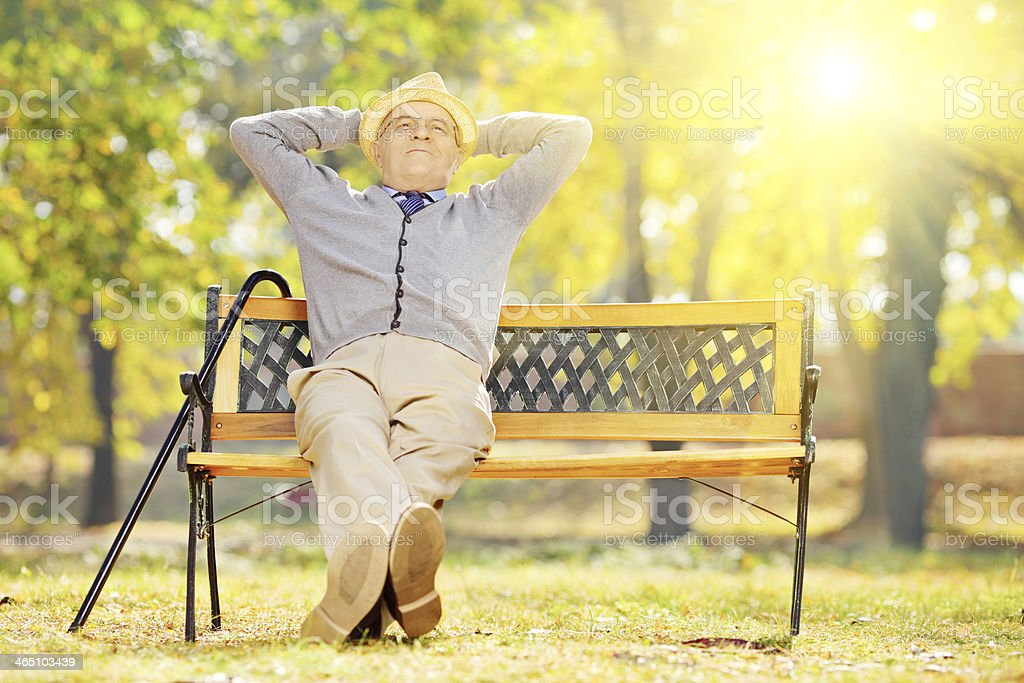 Relaxed senior gentleman sitting on wooden bench in a park stock photo