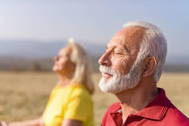 homem sênior relaxado que medita na natureza com sua esposa. - meditation - fotografias e filmes do acervo
