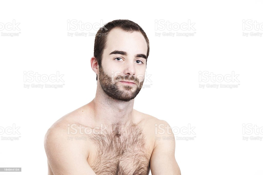 Relaxed shirtless bearded man royalty-free stock photo