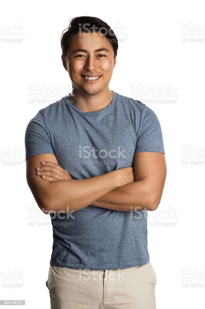 Relaxed smiling man in shirt stock photo
