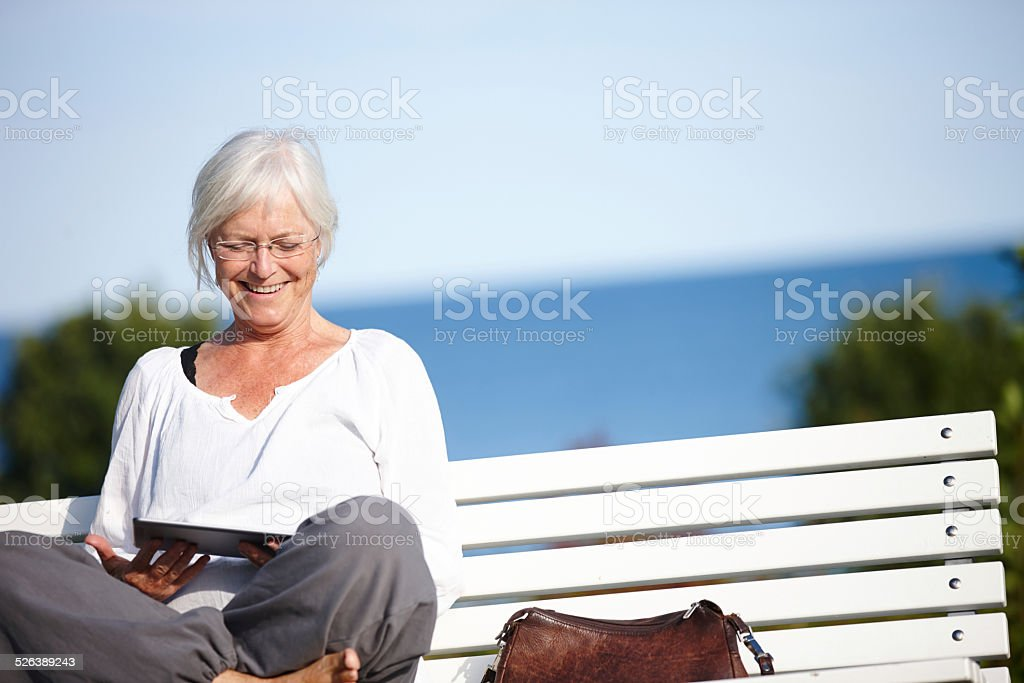 Relaxed web browsing stock photo