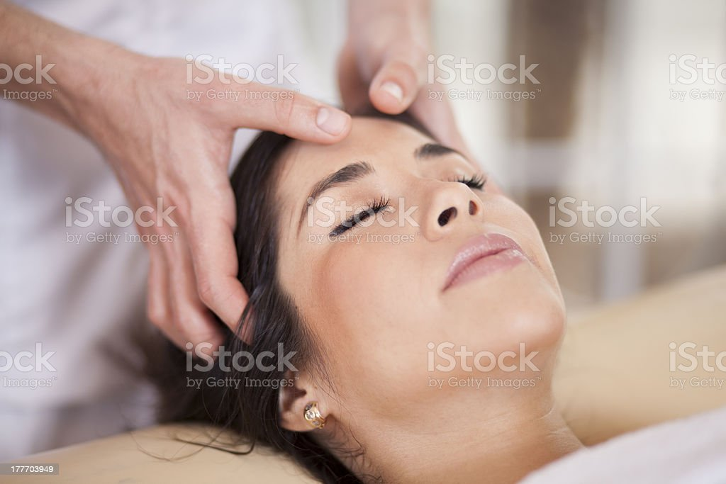 Relaxed woman at a health spa stock photo