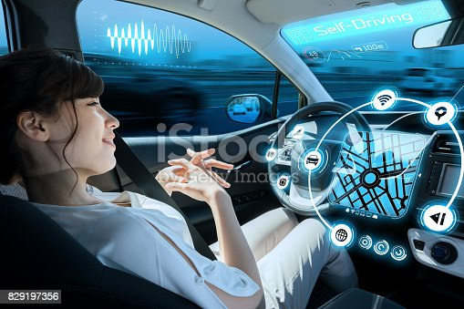 istock relaxed woman in autonomous car. self driving vehicle. autopilot. automotive technology. 829197356
