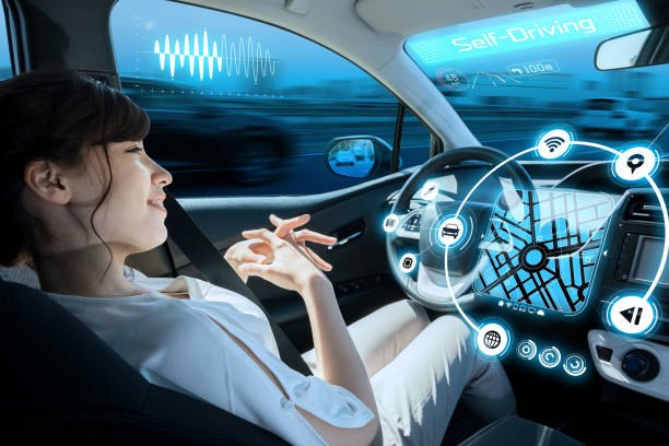 relaxed woman in autonomous car. self driving vehicle. autopilot. automotive technology. stock photo
