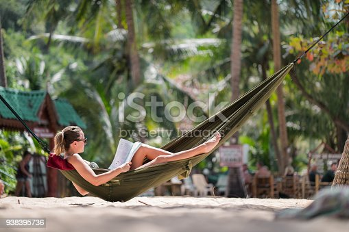 Young woman reading a book in hammock on the beach.