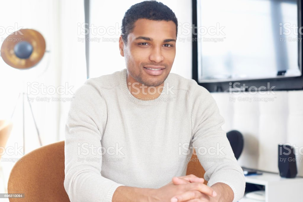 Relaxed young man portrait stock photo