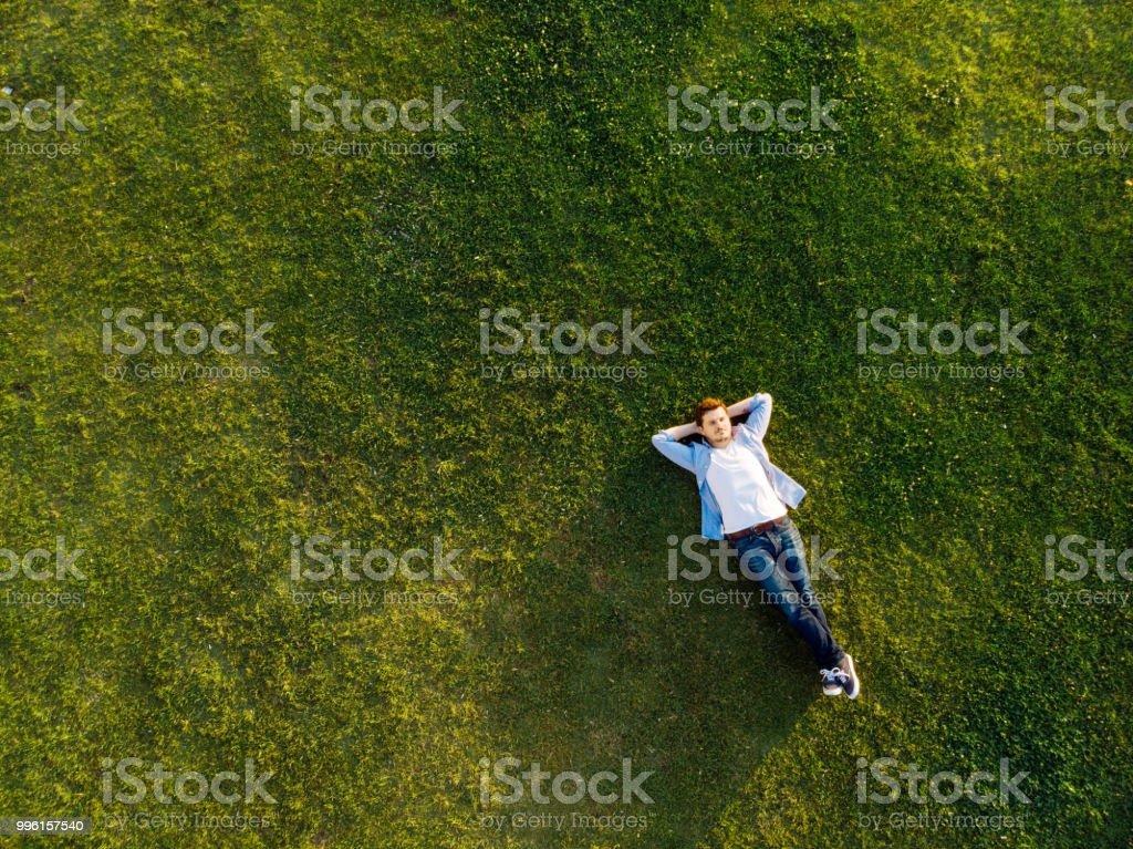 Çimenlerin üzerinde uyku rahat genç adam - Royalty-free Adamlar Stok görsel