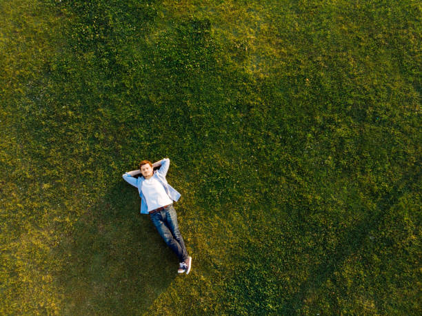 relaxed young man sleeping on grass - mani dietro la testa foto e immagini stock