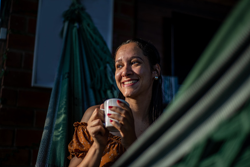 Relaxed, young, woman, cup, coffee