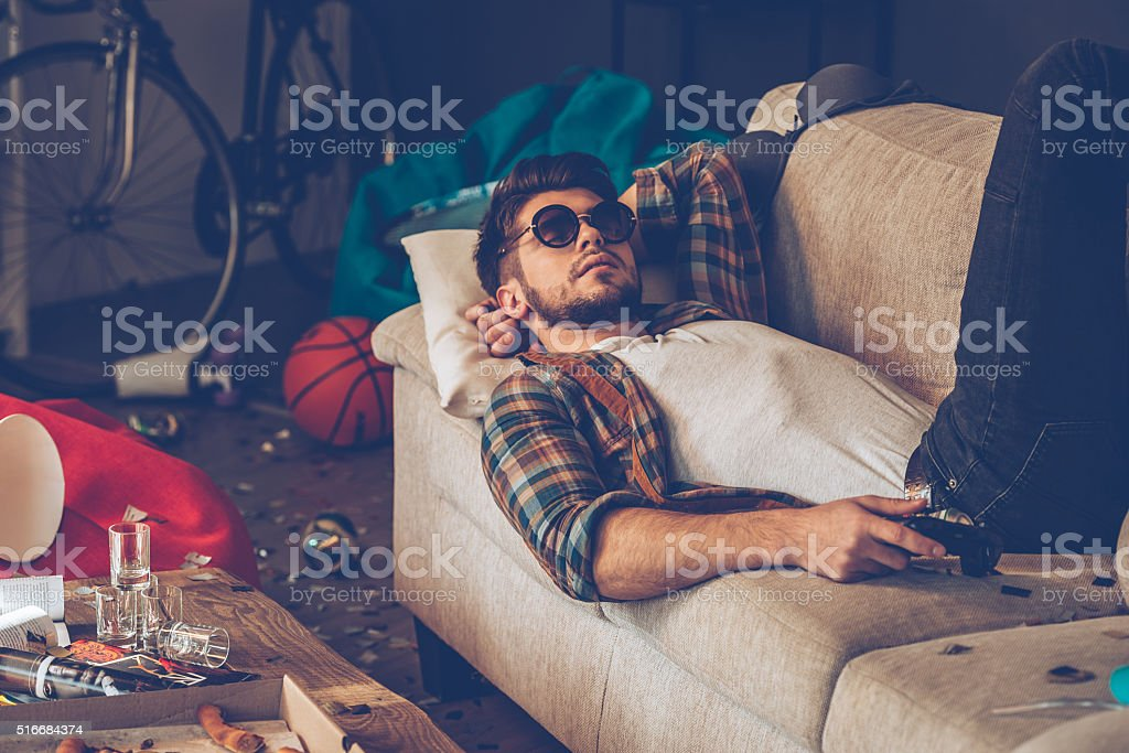Relaxing after party. stock photo