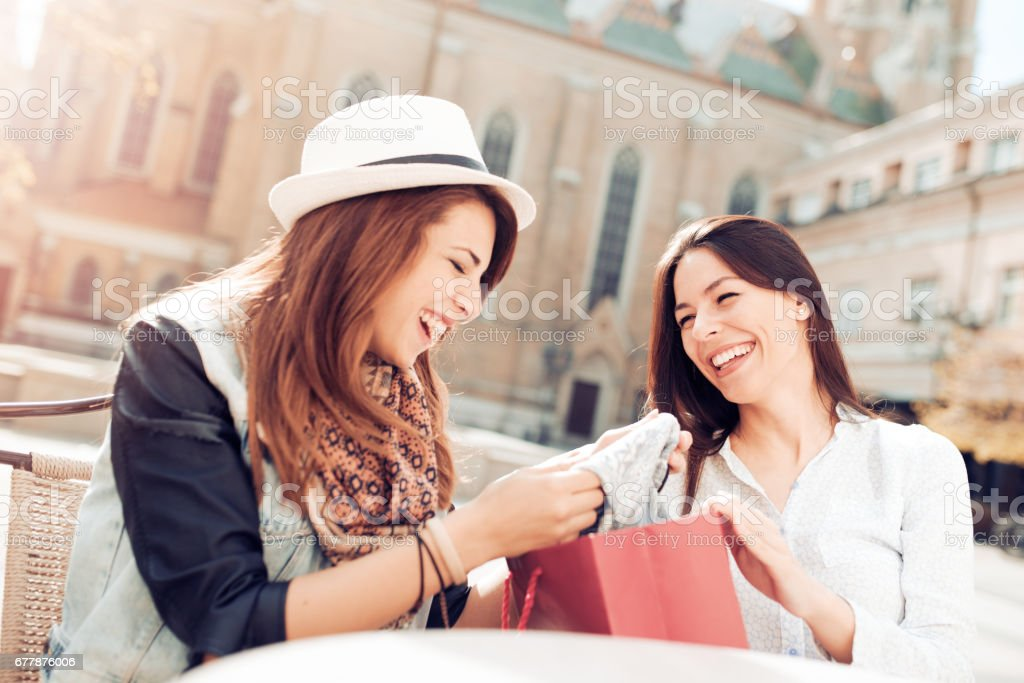 Relaxing after shopping royalty-free stock photo