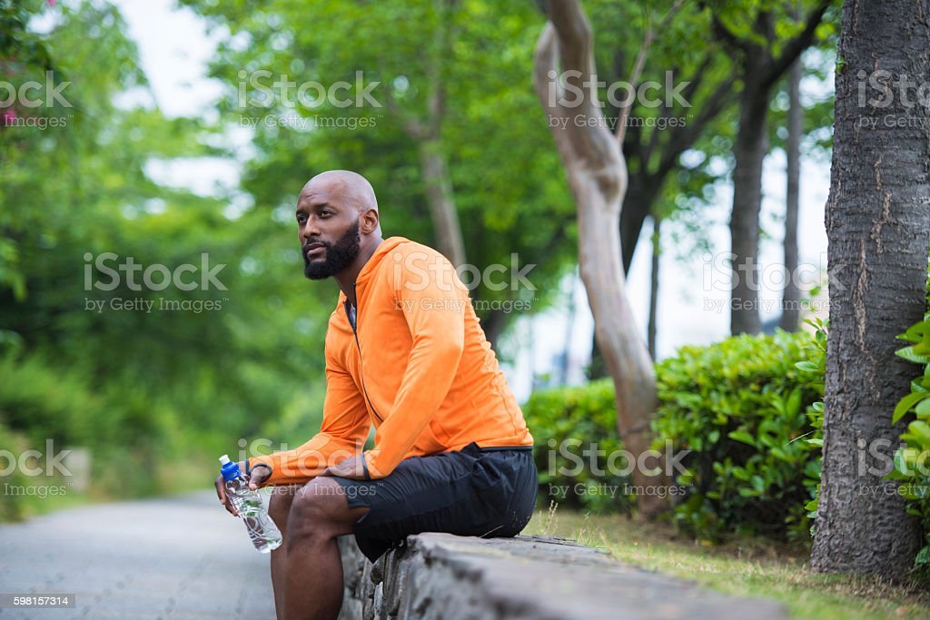 Relaxing after training stock photo
