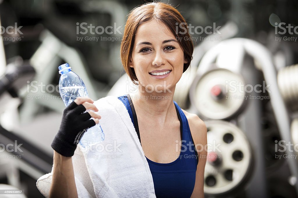 Relaxing and cooling off at the gym stock photo