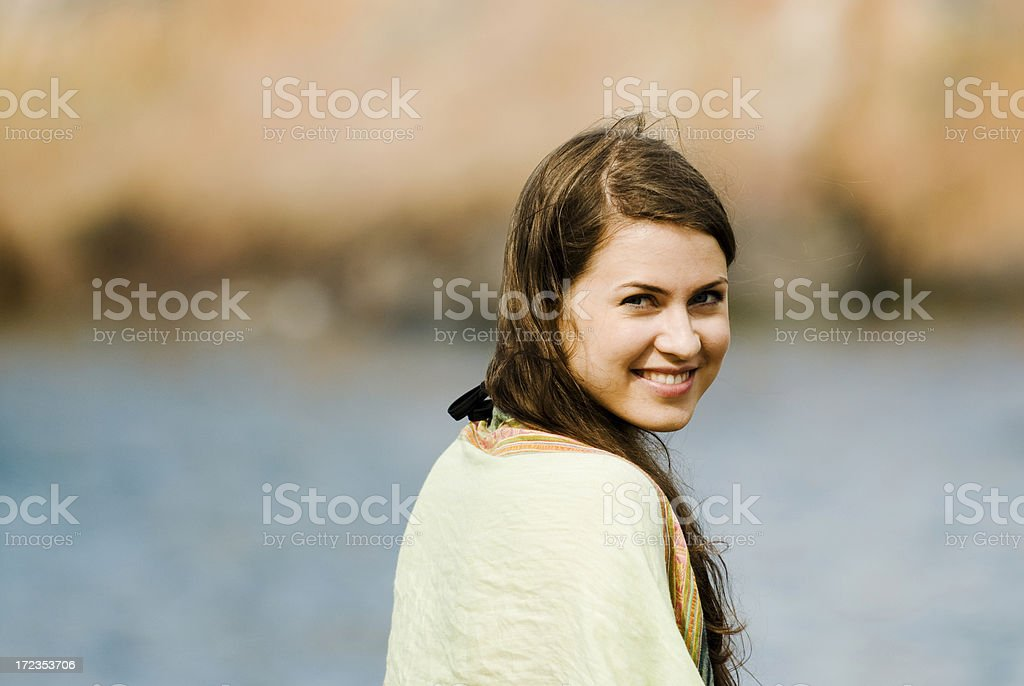Relaxing and smiling royalty-free stock photo