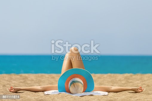 Relaxing and Sunbathing at Beach