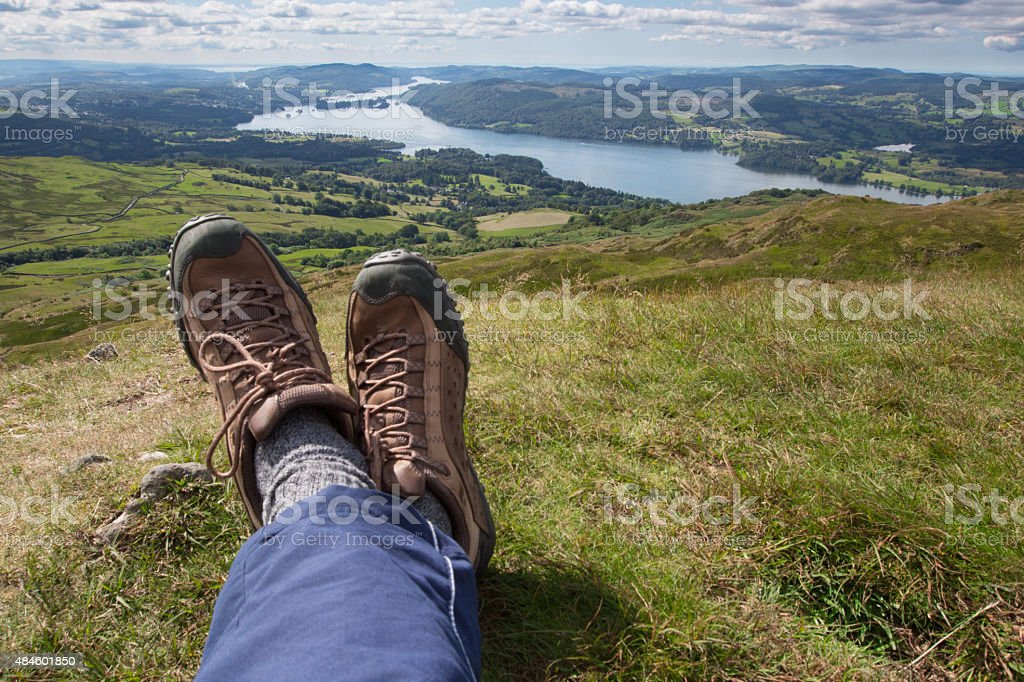 Relaxing and taking in a stunning vista stock photo