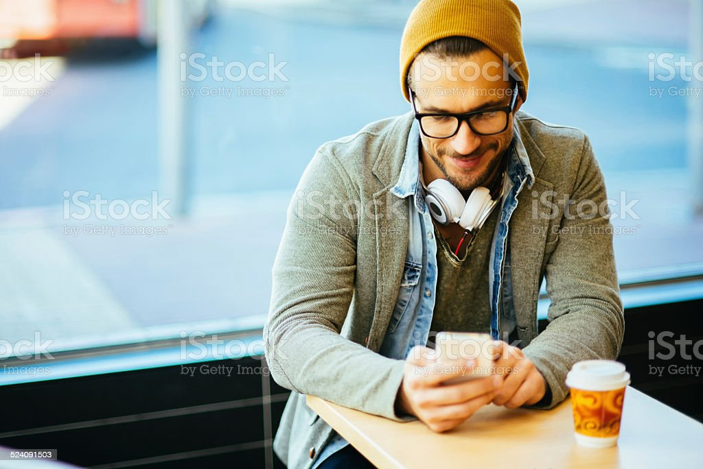 relaxing and typing text message stock photo