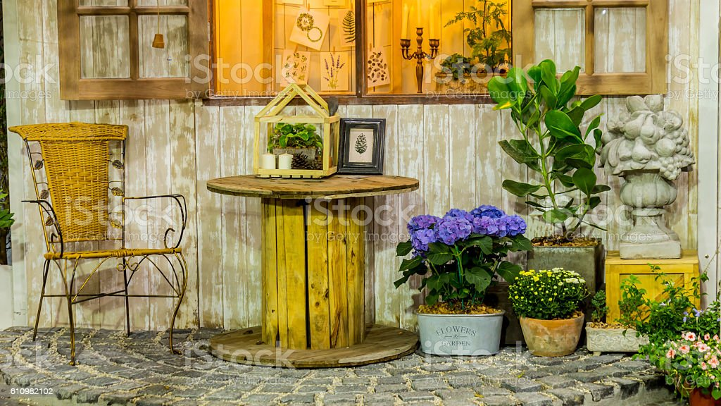 Relaxing area in cozy home. stock photo