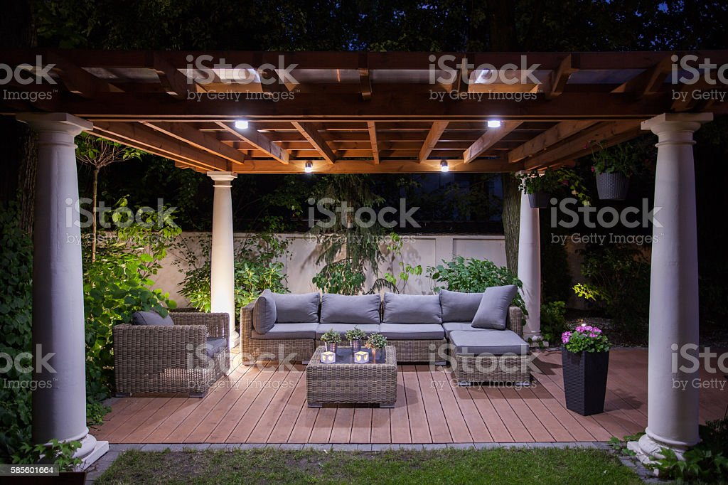 Relaxing area outside of mansion stock photo