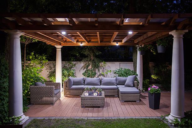 relaxing area outside of mansion - pergola stock-fotos und bilder
