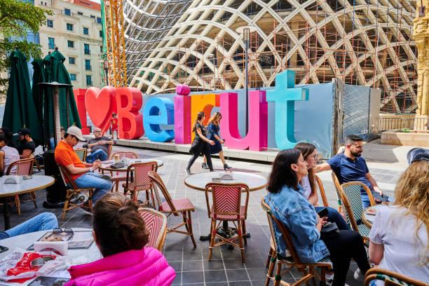 relaxing at beirut souks - beirut стоковые фото и изображения