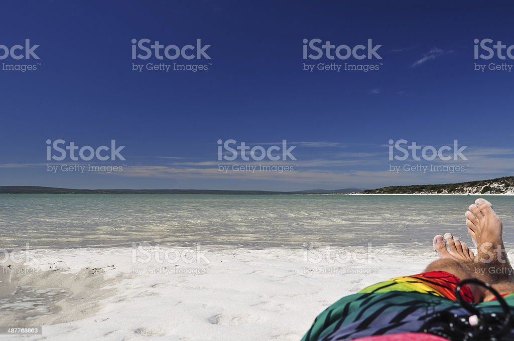 Relaxing at Langebaan Lagoon - West Coast National Park stock photo