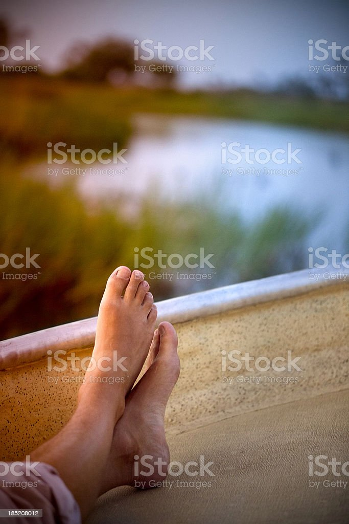 Relaxing at sunset stock photo