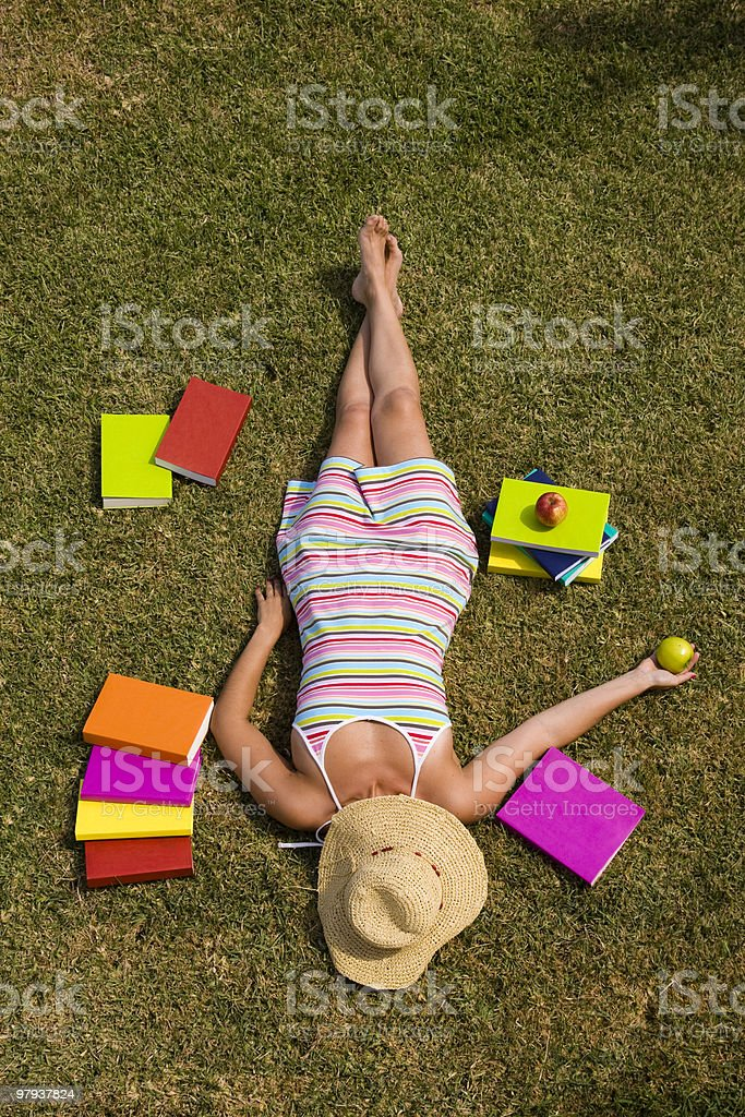 relaxing at the grass royalty-free stock photo