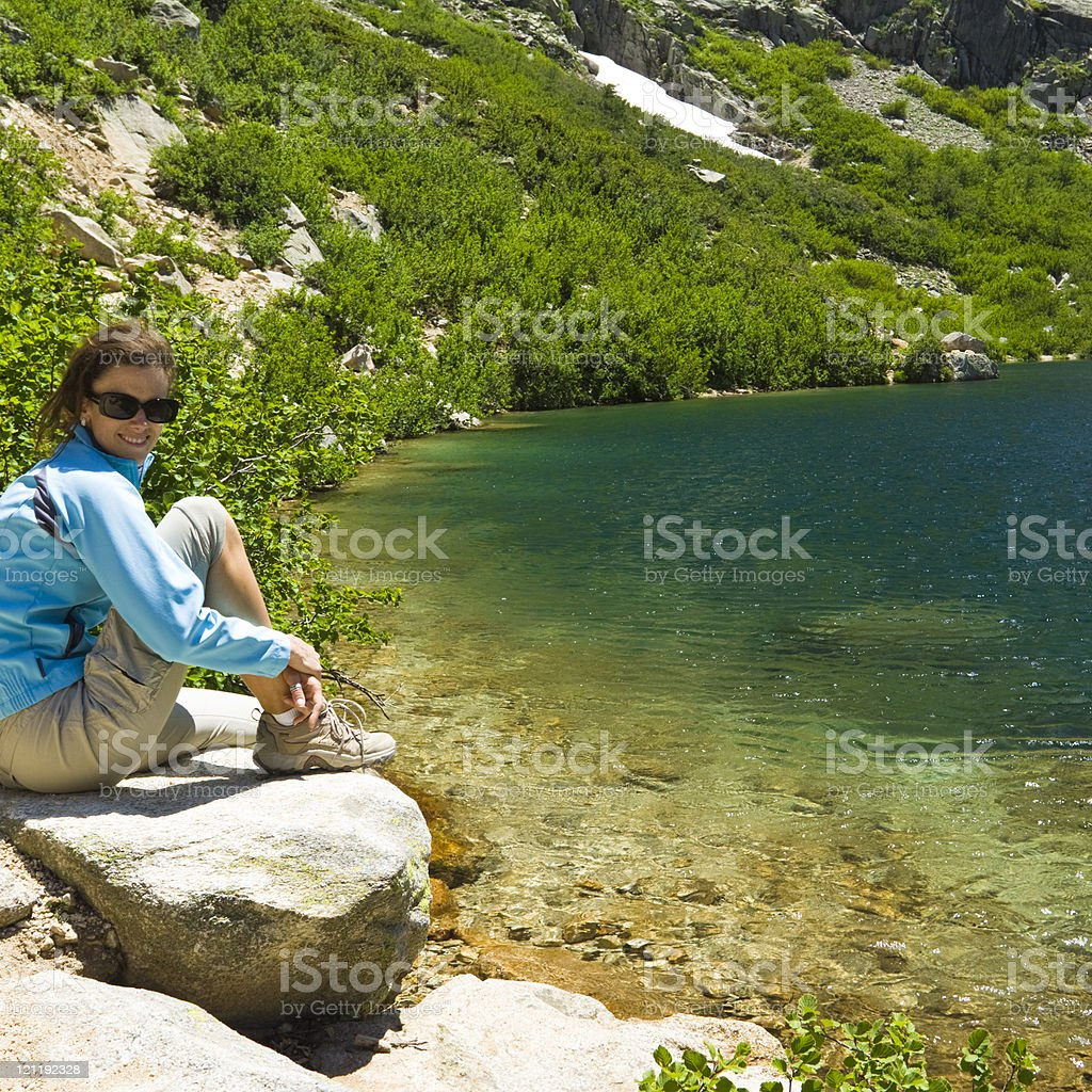 relaxing at the mountain lake royalty-free stock photo