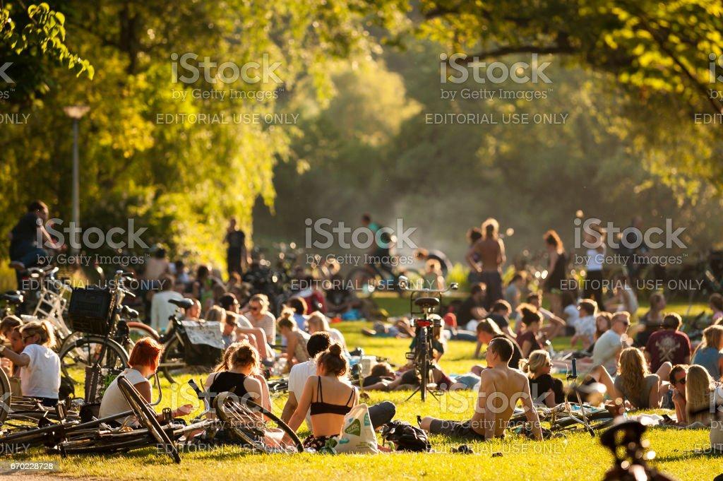 Relaxing at Vondelpark stock photo