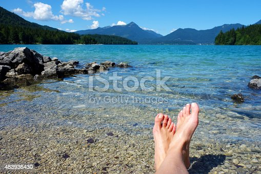 Feet up and relaxing at one of the most beautiful lakes in Bavaria, the Walchensee.