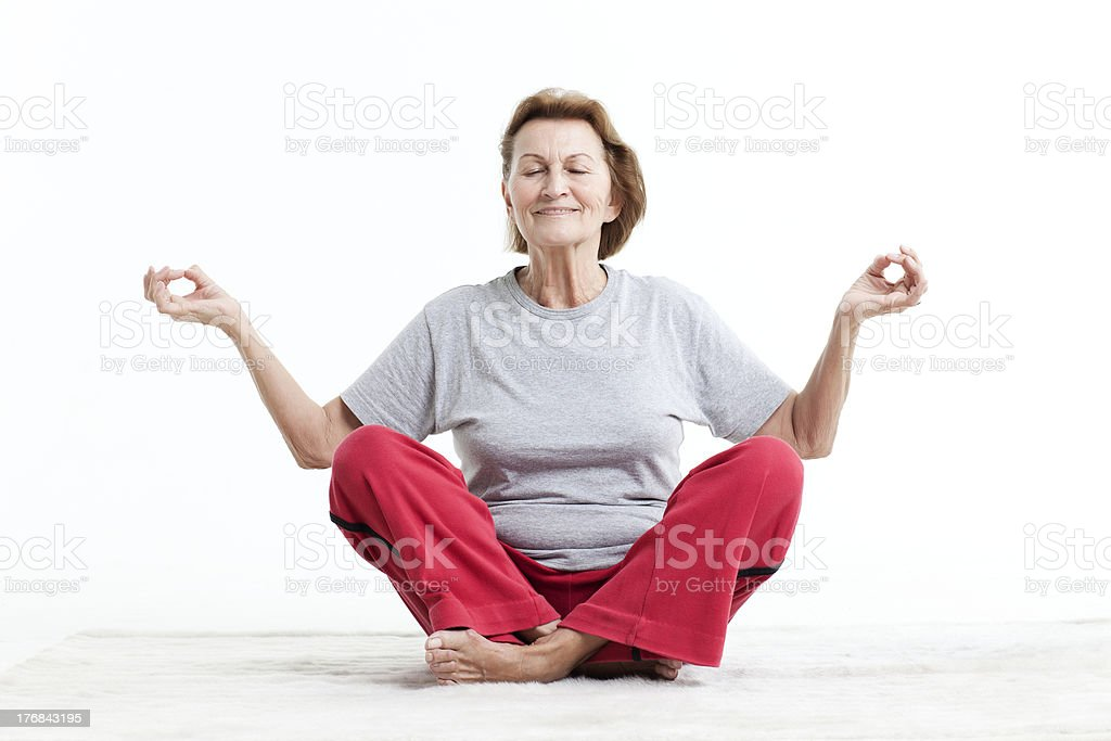 relaxing at yogaposition royalty-free stock photo