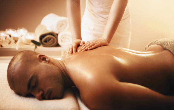 Relaxing back massage. stock photo