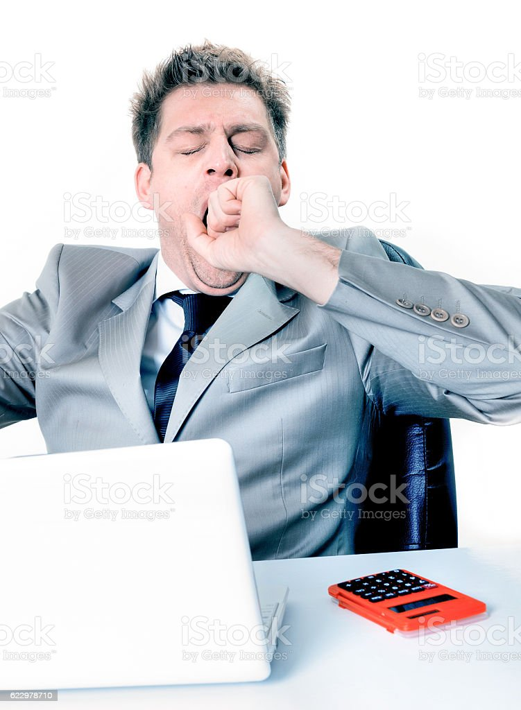 relaxing break, of businessman at the office stock photo