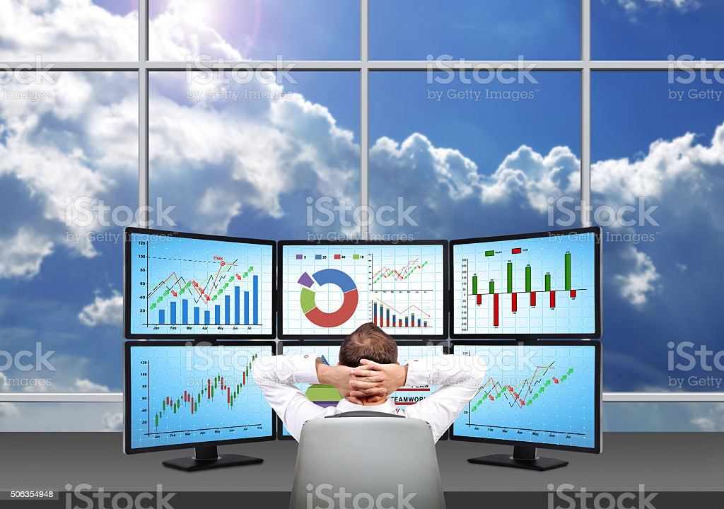 Relaxing businessman stock photo