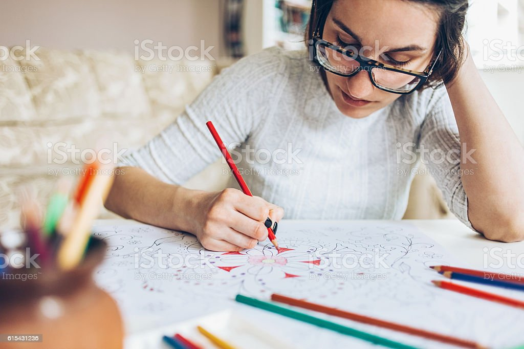 Relaxing by coloring stock photo
