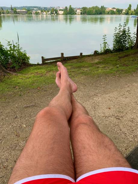 Relaxing by the lake. stock photo