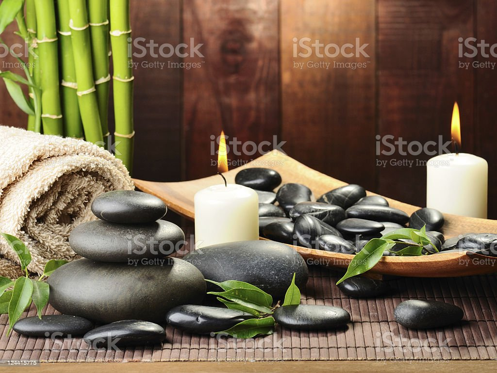 Relaxing collection of spa supplies royalty-free stock photo
