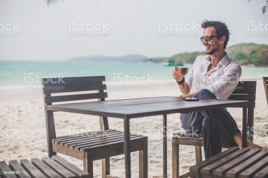 Relaxing day in beach bar stock photo