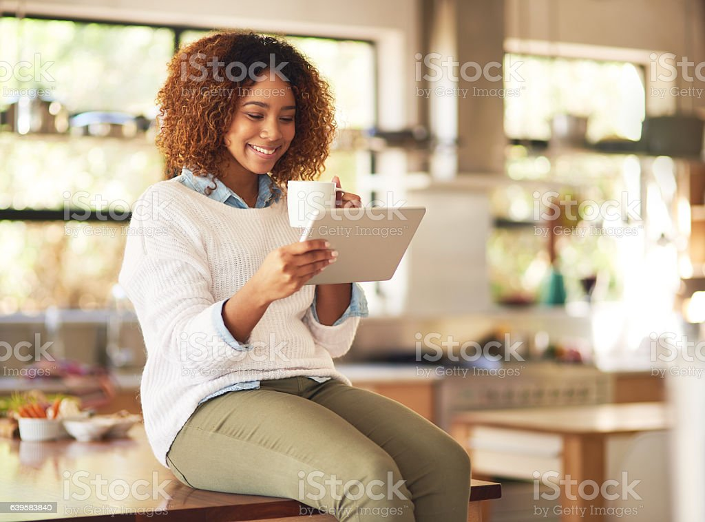 Relaxing done anywhere with the freedom of wireless technology stock photo