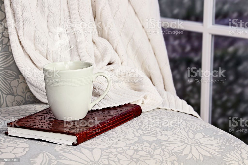 Relaxing Drink and Book stock photo